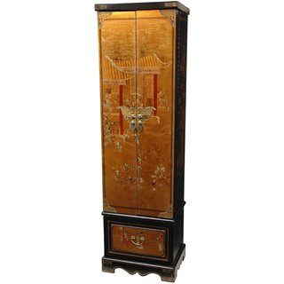 Handmade Gold Leaf Floor Jewelry Armoire (China)