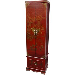 Handmade Red Lacquer Floor Jewelry Armoire (China)