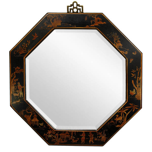 Handmade Black Lacquer Octagonal Mirror (China)