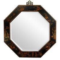 Handmade Red Lacquer Octagonal Mirror China Free