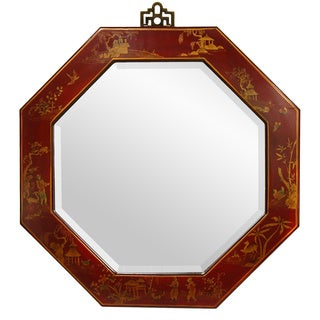 Handmade Red Lacquer Octagonal Mirror (China)
