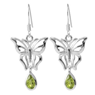 Handmade Sterling Silver Peridot Butterfly Drop Earrings (Thailand)