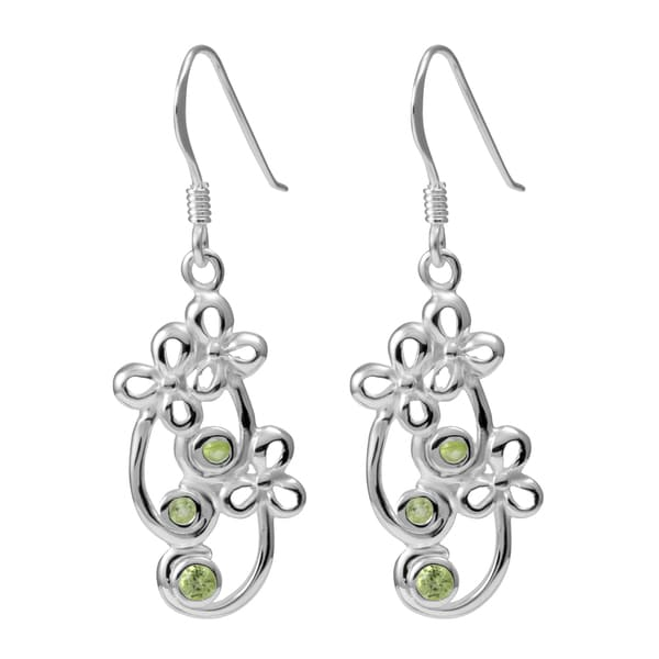 Sterling Silver Peridot Foral Earrings (Thailand)