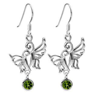 Handmade Sterling Silver Peridot Double Butterfly Earrings (Thailand)