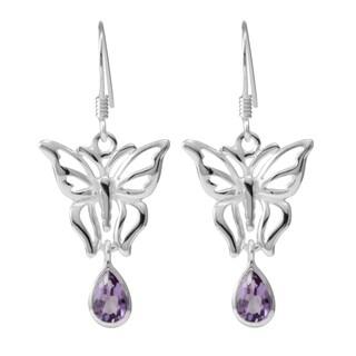 Sterling Silver Amethyst Butterfly Earrings (Thailand)
