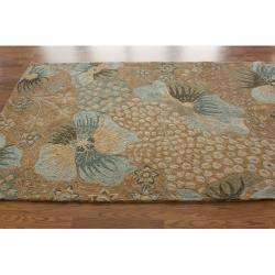 nuLOOM Handmade Indoor/Outdoor Floral Beige Rug (5' x 8')