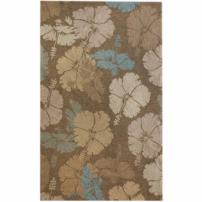 nuLOOM Handmade Indoor/Outdoor Floral Brown Rug (8' x 10')