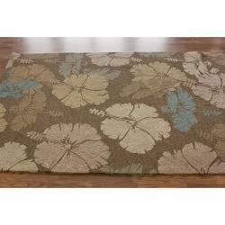 nuLOOM Handmade Indoor/Outdoor Floral Brown Rug (8' x 10') - Thumbnail 1