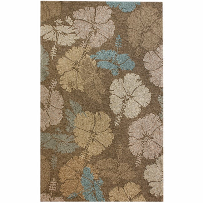 nuLOOM Handmade Indoor/Outdoor Floral Brown Rug (5' x 8')