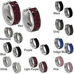 La Preciosa Sterling Silver Crystal Small Cuff Earrings (More options available)