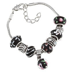 La Preciosa Silverplated Murano-inspired Black Glass Bead Charm Bracelet