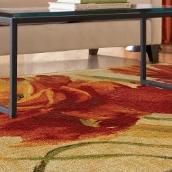 Flamboyant Orange Floral Rug (2'6 x 4'2)