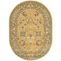 Safavieh Handmade Traditions Gold/Sage Wool Rug (7'6 x 9'6) - 7'6' x 9'6' oval