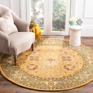 Safavieh Handmade Traditions Gold/Sage Wool Rug (3'6 Round)