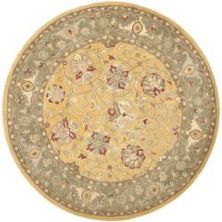 Safavieh Handmade Traditions Gold/Sage Wool Rug (6' Round)