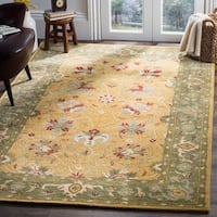 "Safavieh Handmade Traditions Gold/ Sage Wool Area Rug - 7'6"" x 9'6"""