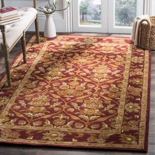 Safavieh Handmade Heritage Wine Red Wool Rug (7'6 x 9'6)