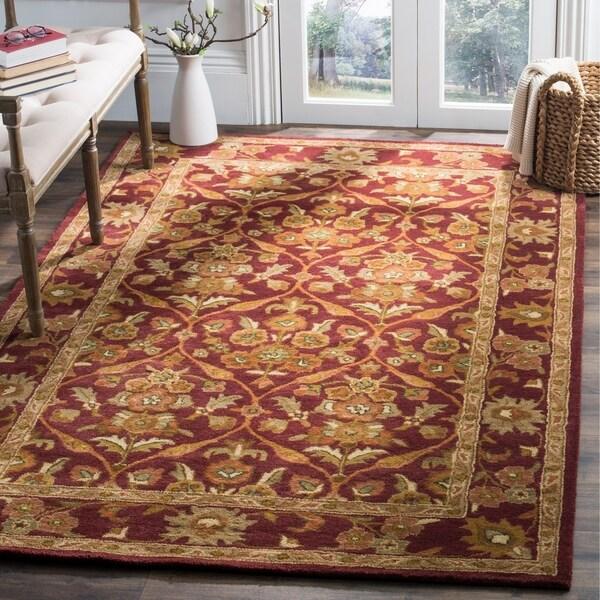 "Safavieh Handmade Heritage Wine Red Wool Rug - 7'6"" x 9'6"""