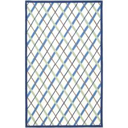 Safavieh Handmade Children's Diamonds Ivory/ Blue N. Z. Wool Rug (4' x 6')