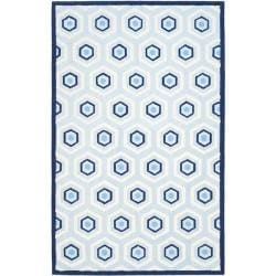 Safavieh Handmade Children's Hexagon Light Blue N. Z. Wool Rug (5' x 8')
