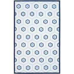 Safavieh Handmade Children's Hexagon Light Blue N. Z. Wool Rug - 8' x 10' - Thumbnail 0