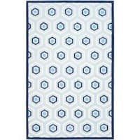 Safavieh Handmade Children's Hexagon Light Blue N. Z. Wool Rug - 8' x 10'
