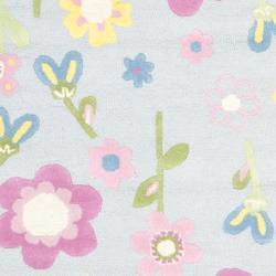 Safavieh Handmade Spring Flowers Light Blue N. Z. Wool Rug (4' x 6')
