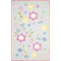 Safavieh Handmade Spring Flowers Light Blue N. Z. Wool Rug - 8' x 10'
