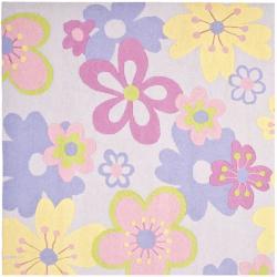 Safavieh Handmade Children's Daisies Violet N. Z. Wool Rug (7' Square)