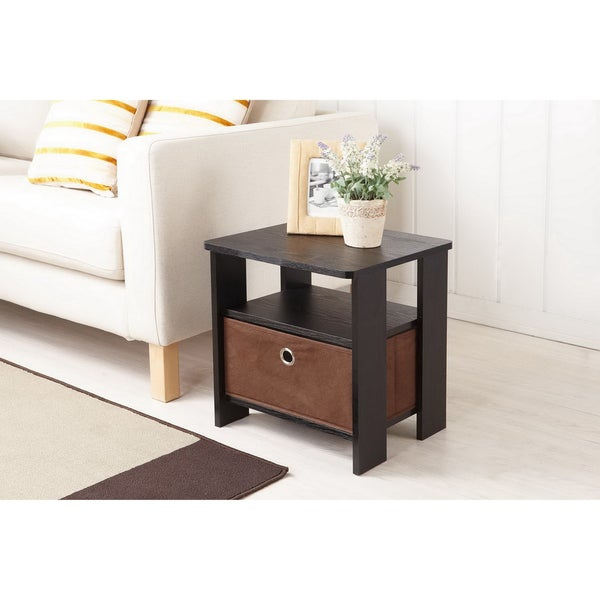 Furniture of America Fresno Collection End Table with Removable Fabric Storage Box