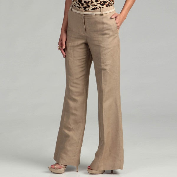 Creative Motherhood Maternity Womens Size L Dark Beige Khaki Capri Pants Great