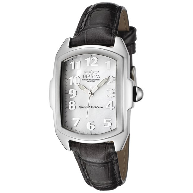 Invicta Women's 5168 'Lupah' Shiny Dark Grey Leather Watch