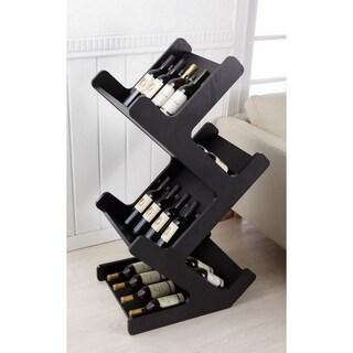 Furniture of America Ventana Black Magazine/ Wine Rack