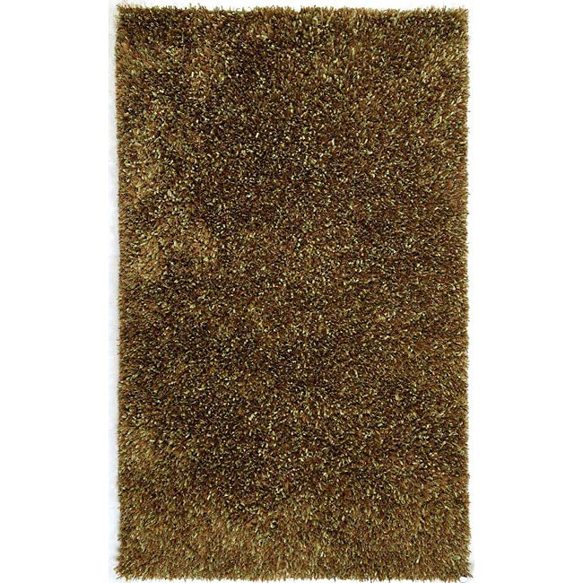 Hand-woven Brown Shag Rug (7'6 x 9'6)