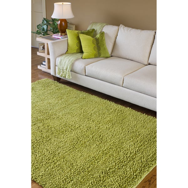 Hand-woven Montevideo Colorful Plush Shag New Zealand Felted Wool Shag Area Rug - 9' x 13'
