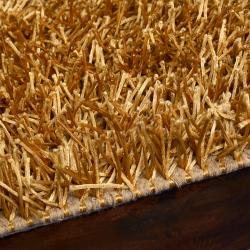 Hand-woven Vivid Soft Shag Rug in Gold (8' x 10') - Thumbnail 2