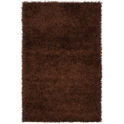 Hand-woven Vivid Soft Shag Rug in Brown (8' x 10')