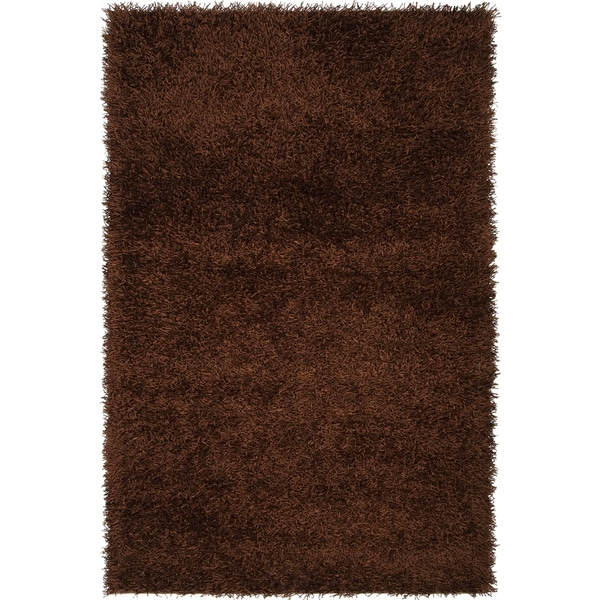 Hand-woven Vivid Soft Shag Rug in Brown - 8' x 10'