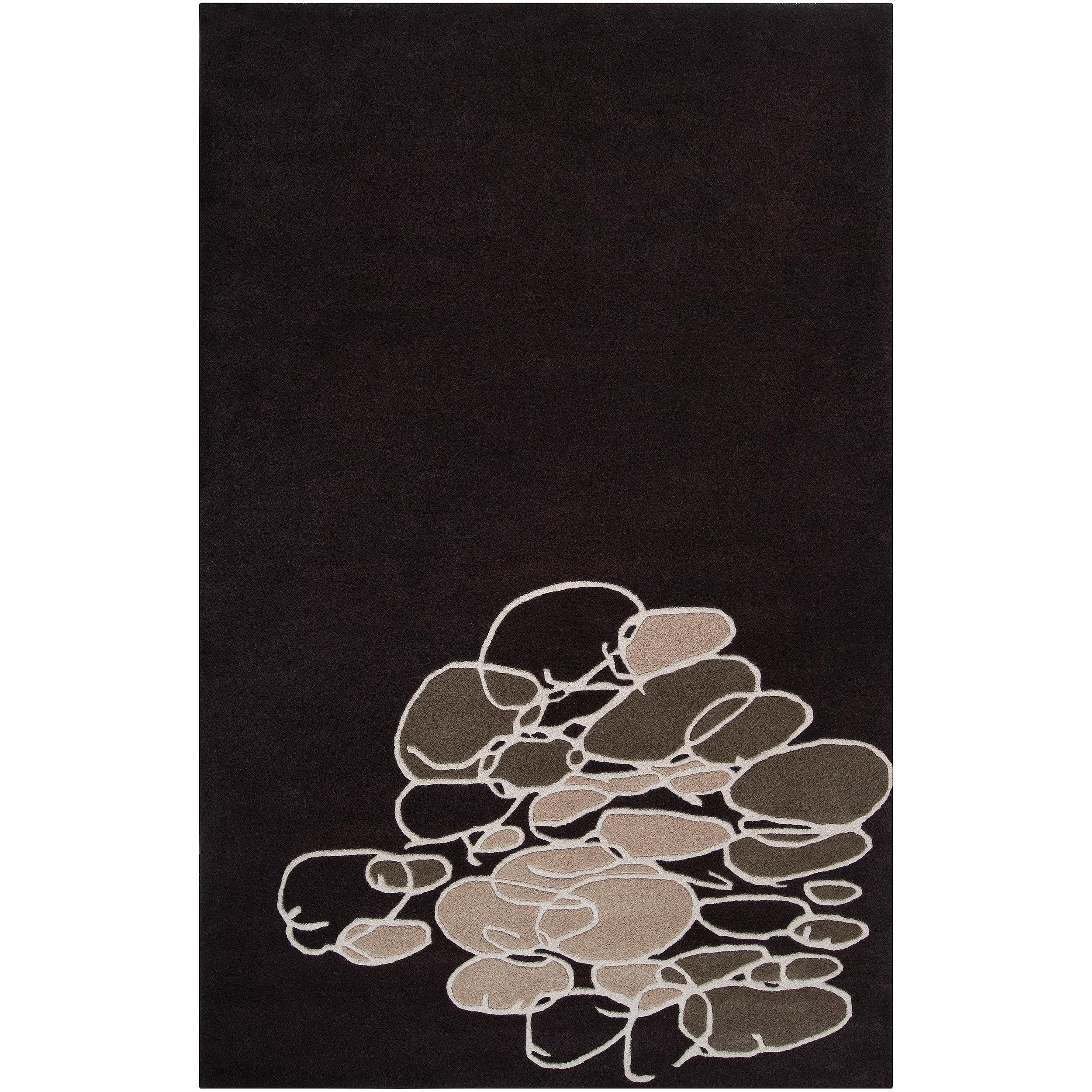 Noah Packard Hand-tufted Black/Tan Contemporary Harmony New Zealand Wool Abstract Rug (5' x 8')