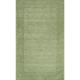 Hand-crafted Moss Green Tone-On-Tone Bordered Wichita Wool Area Rug - 12 x 15/Surplus (Aloe - 12 x 15/Surplus)