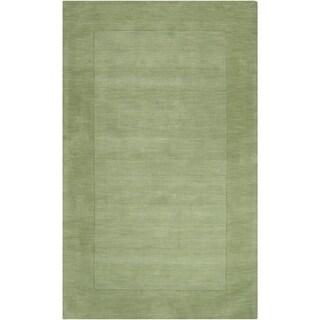 Hand-crafted Moss Green Tone-On-Tone Bordered Wichita Wool Area Rug - 12' x 15'