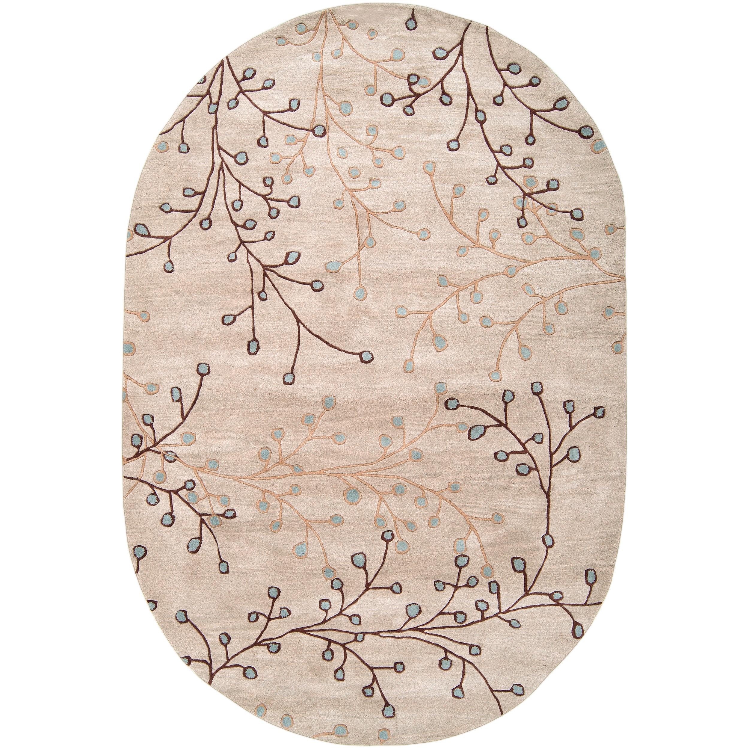 Handcrafted Tulsa Floral Wool Rug 6 X 9 Free