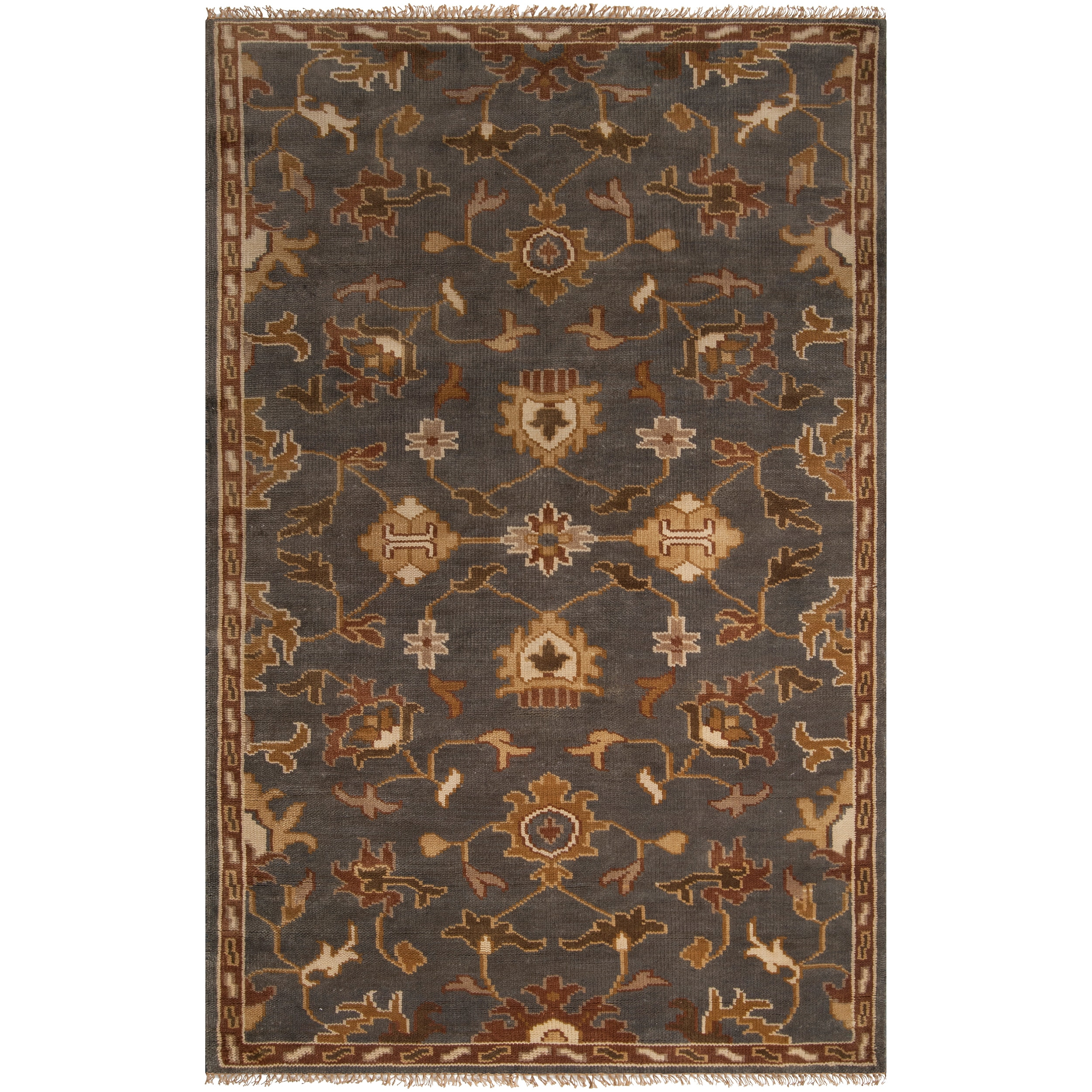 Hand-knotted Grey Southwestern Donovan Wool Rug (5' x 8')