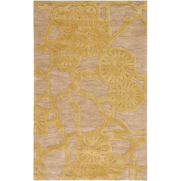 Hand-tufted Gold/Beige Abstract Rug (5' x 7'6)