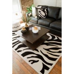 Hand-tufted Black/White Zebra Animal Print Frankfurt  Wool Rug (2' x 3')