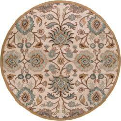 """Hand Tufted Brigham Beige Floral Wool Rug (9'9"""" Round)"""
