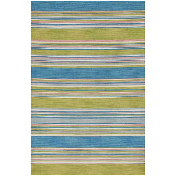 Flat-woven Blue Wool Area Rug (9' x 12')