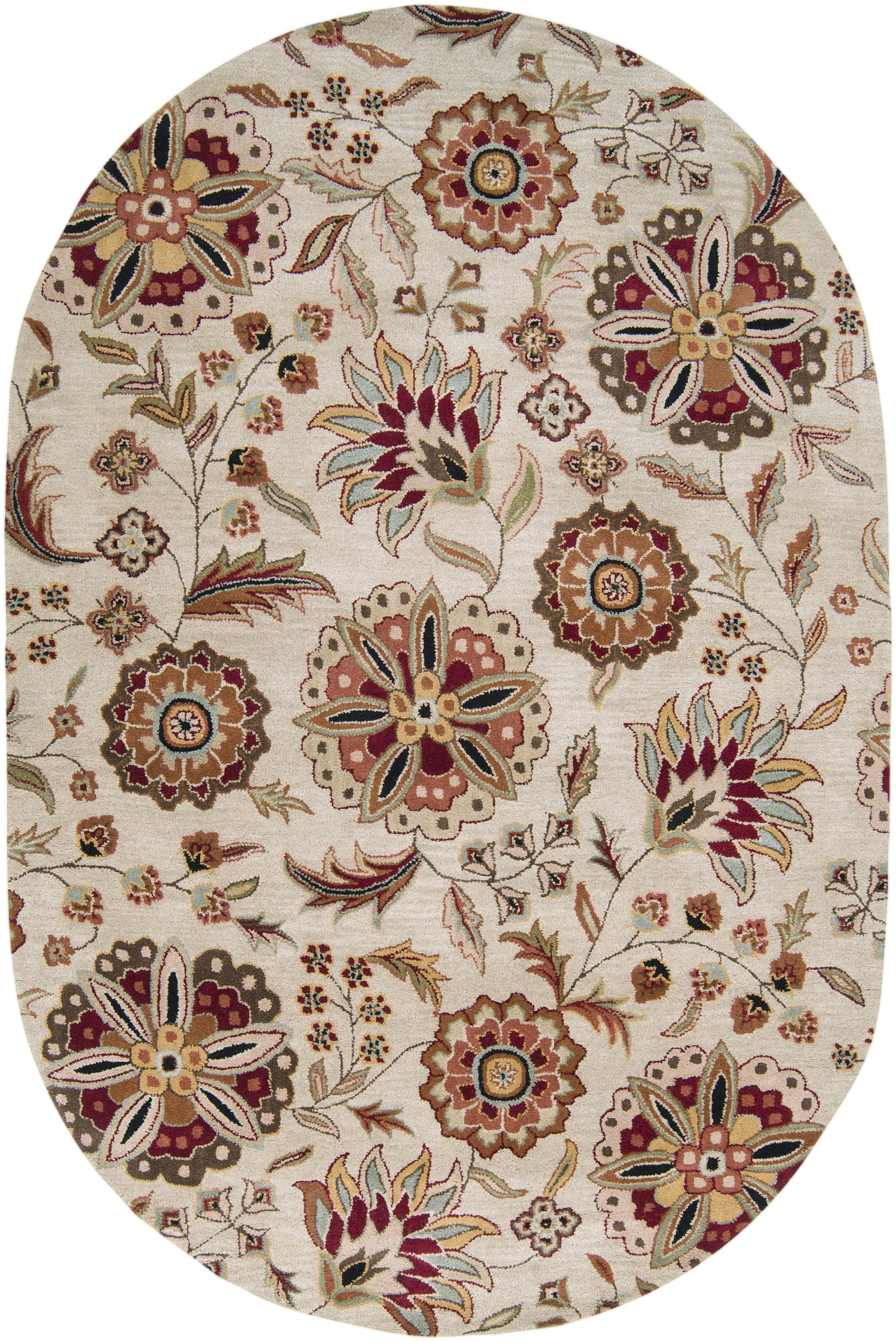 Hand tufted Antimony Floral Wool Rug (8' x 10' Oval)