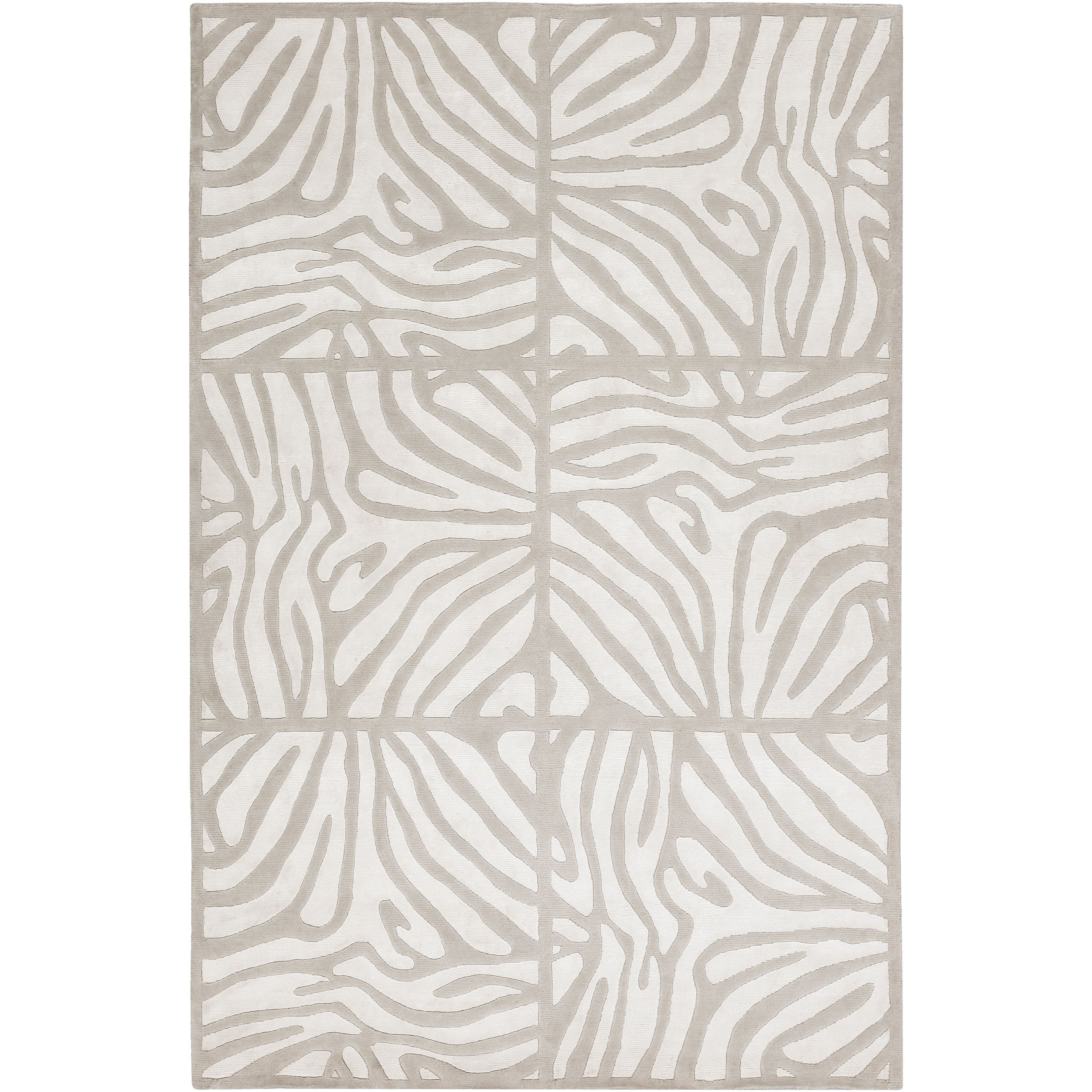 Hand Knotted Draper White Animal Pattern Wool Area Rug (5u0026#x27; ...