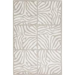 Hand Knotted Draper White Animal Pattern Wool Rug (5' x 8')